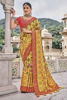 Picture of Charming Yellow Colored Patola Silk Designer Festive Saree
