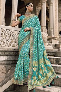 Picture of Appealing Blue Colored Patola Silk Designer Festive Saree