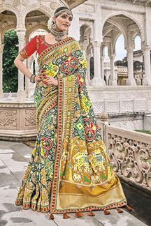 Picture of Ideal Multi-Colored Patola Silk Designer Festive Saree