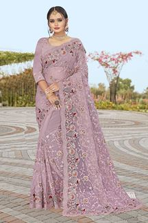 Picture of Dusty lavender Colored Partywear Designer Net Saree