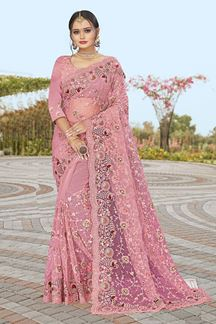 Picture of Dusty Carrot Pink Colored Partywear Designer Net Saree