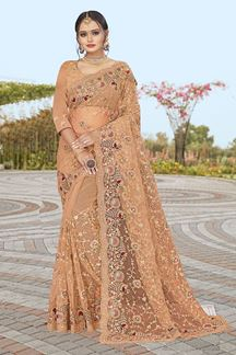Picture of Dusty Peach Colored Partywear Designer Net Saree