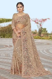 Picture of Dusty Brown Colored Partywear Designer Net Saree