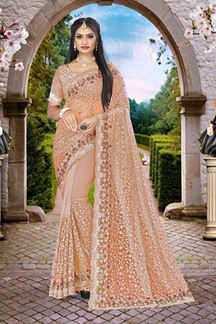 Picture of Embroidery Dusty Peach Colored Partywear Designer Net Saree