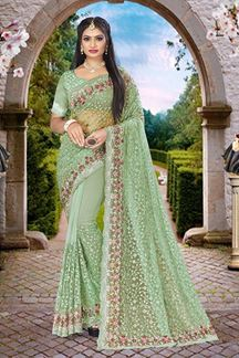 Picture of Embroidery Dusty Pista Green Colored Partywear Designer Net Saree