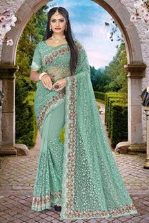 Picture of Embroidery Dusty Firozi Colored Partywear Designer Net Saree
