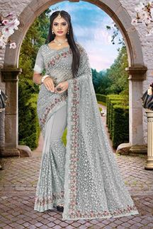 Picture of Embroidery Dusty Grey Colored Partywear Designer Net Saree
