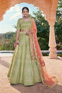 Picture of Pista Green Colored Designer Bridal Wear Lehenga Choli