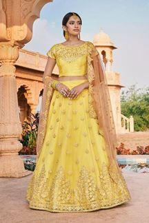 Picture of Yellow Colored Designer Bridal Wear Lehenga Choli