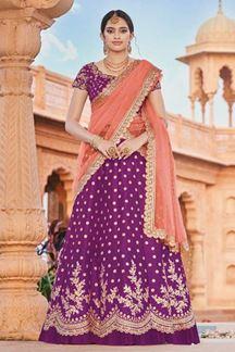 Picture of Purple Colored Designer Bridal Wear Lehenga Choli