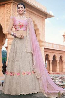 Picture of Grey & Pink Colored Designer Bridal Wear Lehenga Choli