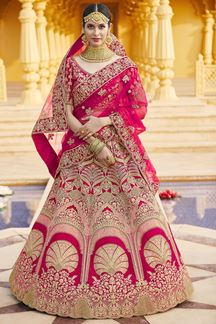 Picture of Gorgeous Pink Colored Designer Embroidered Bridal Lehenga Choli