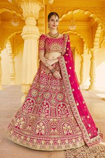 Picture of Glowing Pink Colored Designer Embroidered Bridal Lehenga Choli