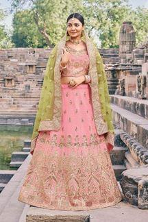 Picture of Pink Colored Designer Bridal Wear Lehenga Choli