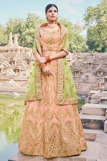 Picture of Peach Colored Designer Bridal Wear Lehenga Choli