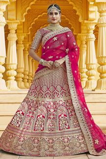 Picture of Adorable Pink Colored Designer Embroidered Bridal Lehenga Choli