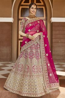 Picture of Trendy Pink Colored Designer Embroidered Bridal Lehenga Choli