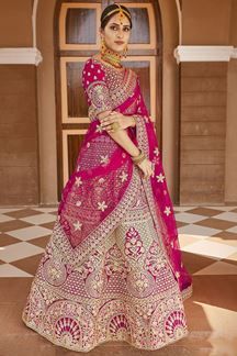 Picture of Classy Pink Colored Designer Embroidered Bridal Lehenga Choli