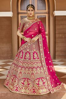 Picture of Blooming Pink Colored Designer Embroidered Bridal Lehenga Choli