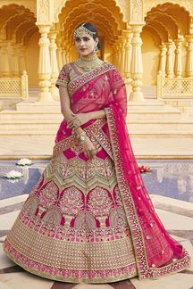 Picture of Flaunt Pink Colored Designer Embroidered Bridal Lehenga Choli