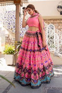 Picture of Wedding Designer Pink Colored Printed  Designer Lehenga Choli
