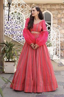 Picture of Wedding Designer Red Pink Colored Printed Lehenga Choli