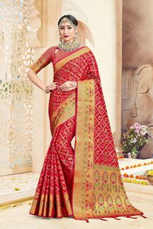 Picture of Designer Red Colored Party Wear Banarasi Art Silk Saree