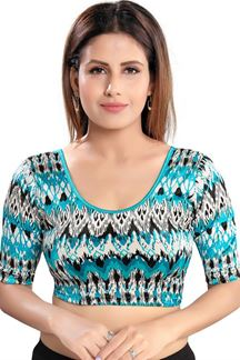 Picture of Blue Colored Velvet Readymade Blouse