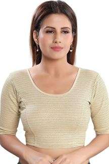 Picture of Attractive Gold Colored Lycra Readymade Blouse
