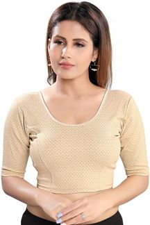 Picture of Attractive Gold Colored Velvet Readymade Blouse