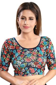 Picture of Attractive Nay Blue Colored Lycra Readymade Blouse