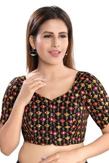 Picture of Latest Black Colored Attractive Brocade Readymade Blouse