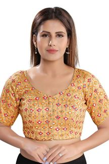 Picture of Latest Gold Colored Attractive Brocade Readymade Blouse