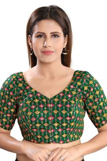 Picture of Latest Green Colored Attractive Brocade Readymade Blouse