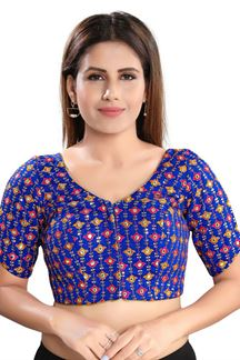 Picture of Latest Royal Blue Colored Attractive Brocade Readymade Blouse