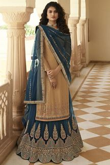 Picture of Beige & Navy Blue Colored Designer Partywear Embroidered Suit (Unstitched suit)