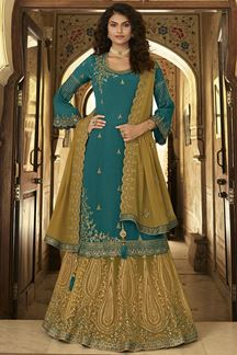 Picture of Teal & Gold Colored Designer Partywear Embroidered Suit (Unstitched suit)