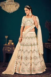 Picture of Cream Colored Embroidered Partywear Lehenga Choli
