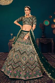 Picture of Green Colored Embroidered Partywear Lehenga Choli