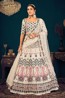 Picture of White Colored Embroidered Partywear Lehenga Choli