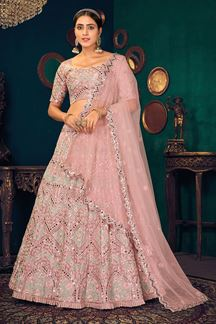 Picture of Mauve Colored Embroidered Partywear Lehenga Choli