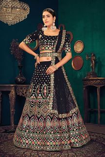 Picture of Black Colored Partywear Lehenga Choli