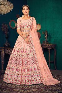 Picture of Peach Colored Partywear Lehenga Choli