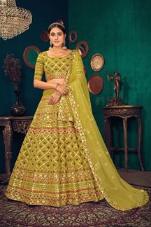 Picture of Green Colored Partywear Lehenga Choli