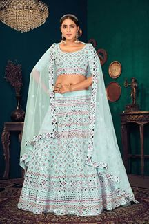 Picture of Sky Blue Colored Partywear Lehenga Choli