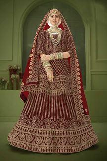 Picture of Heavy Maroon Colored Designer Bridal Wedding Wear Velvet Lehenga Choli