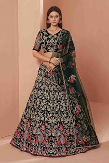 Picture of Green Colored Designer Bridal Wear Net Lehenga Choli