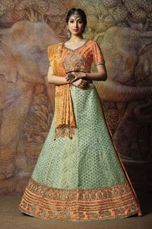 Picture of Peach & Blue Colored Partywear Lehenga Choli