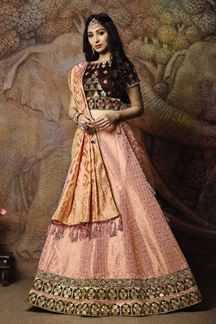Picture of Brown & Peach Colored Partywear Lehenga Choli