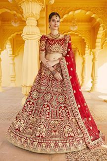 Picture of Galvanic Red Colored Bridal Embroidered Lehenga Choli